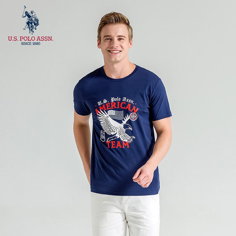 Uspoloassn American Polo Association summer mens short sleeve T-shirt cotton comfort American print bottoming shirt