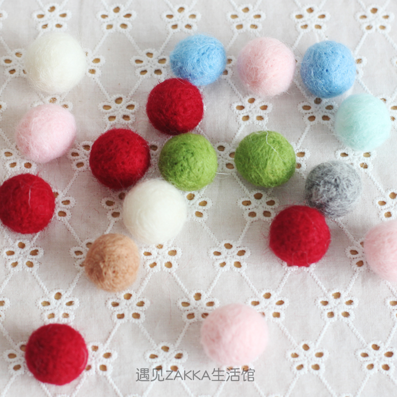 Wool felt wool ball 2cmdiy handmade Christmas tree wreath flower art food photography props small ball decoration ball