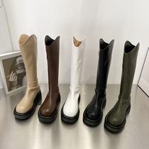 厚底马丁靴2021年新款女春秋单靴小个子中筒靴棕色短靴V口长筒靴