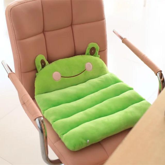 卡通折叠坐垫办公室学生两用椅垫冬毛绒小熊青蛙小鸡兔子加厚椅垫