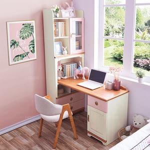 儿童实木转角书桌书架组合学习桌学生家用电脑桌书台书架一体书柜