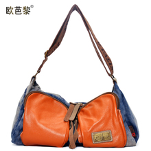 3daa0c1b35 Ou ba li 2014 new Europe and the United States canvas with leather  stitching colours leisure