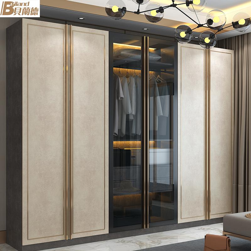 现代轻奢整体衣柜定制简约玻璃六门卧室衣帽间平开门全屋定制家具