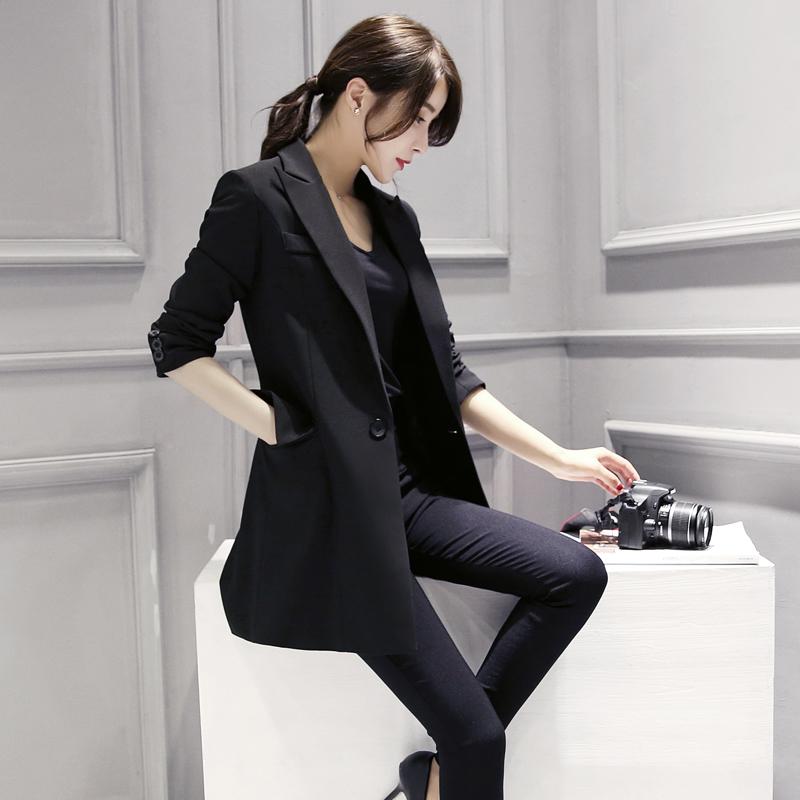 2018秋装新款韩版时尚气质中长款修身显瘦小西装女外套休闲西服潮