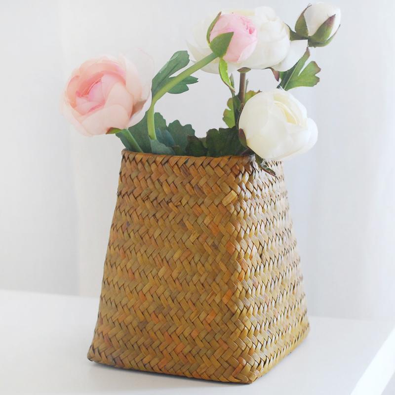 自然而然 編織草編非藤編柳編小花瓶 花盆 花器花籃 家居擺設