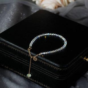 閃奧地利施華洛水晶手鍊女細手串字母14k包金禮物ins小眾設計閨蜜