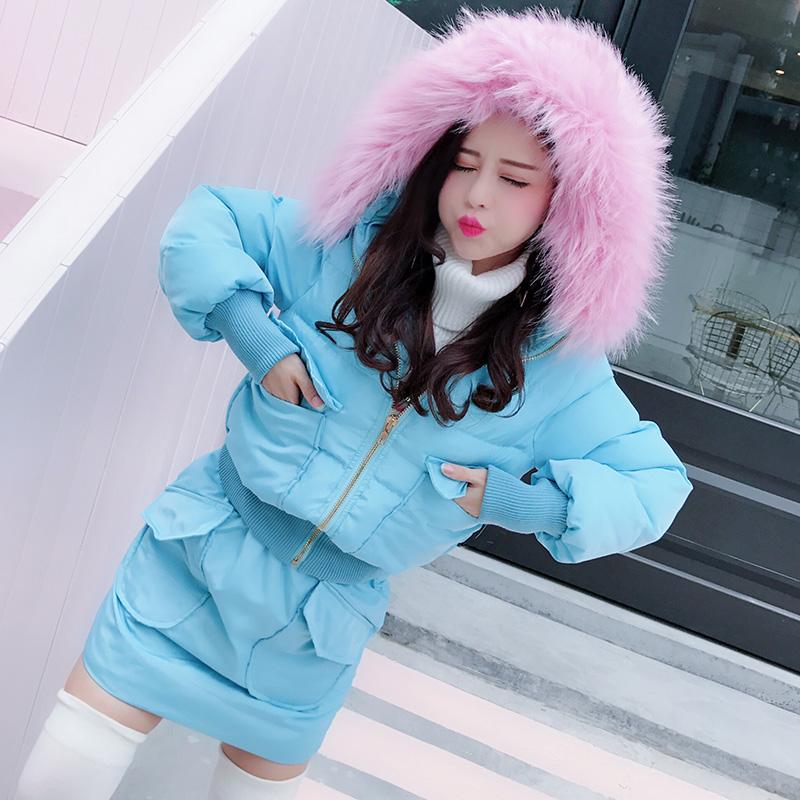 冬季�n版加厚�@瘦棉衣2017年新款高腰修身�L袖粉色�B帽棉服套�b女