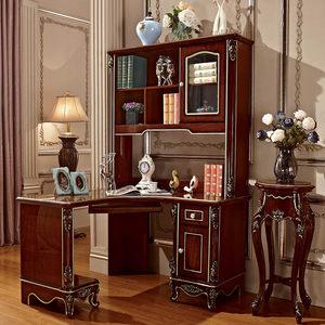 欧式书桌书架组合转角电脑桌韩式写字台式深色直角家用实木书桌椅