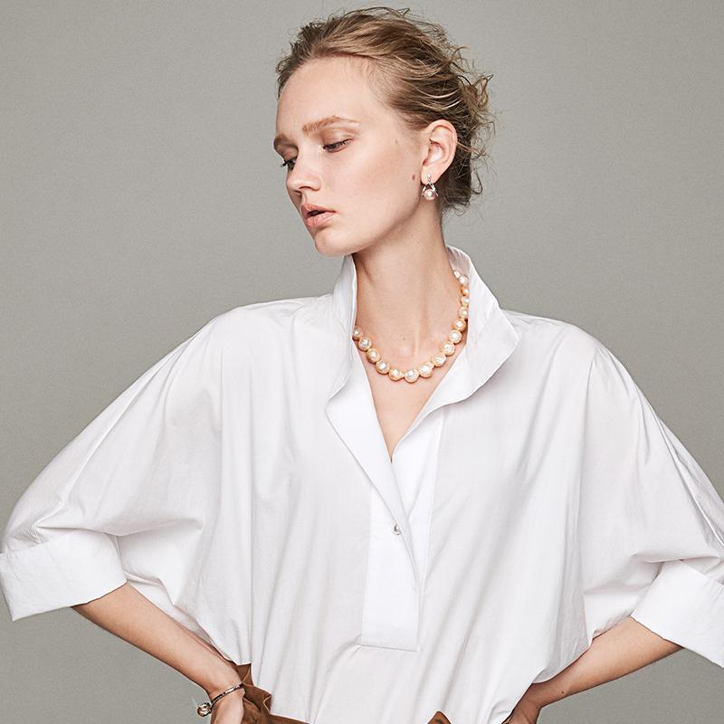 小虫立领白色衬衫女士2019新款夏季休闲百搭V领宽松上衣短袖