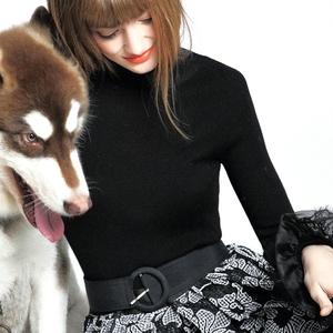小虫 冬季新款纯色简约修身套头灰色羊毛高领毛衣针织衫