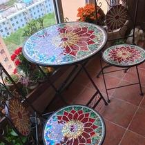 马赛克铁艺户外田园炫彩花园庭院圆桌椅套件Mosaicbistrotable