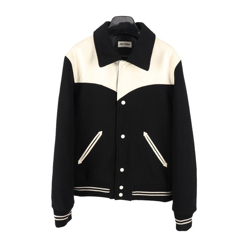 CEL风格羊毛呢拼接羊皮夹克 泰迪男女修身款19FW黑白棒球服 HEDI