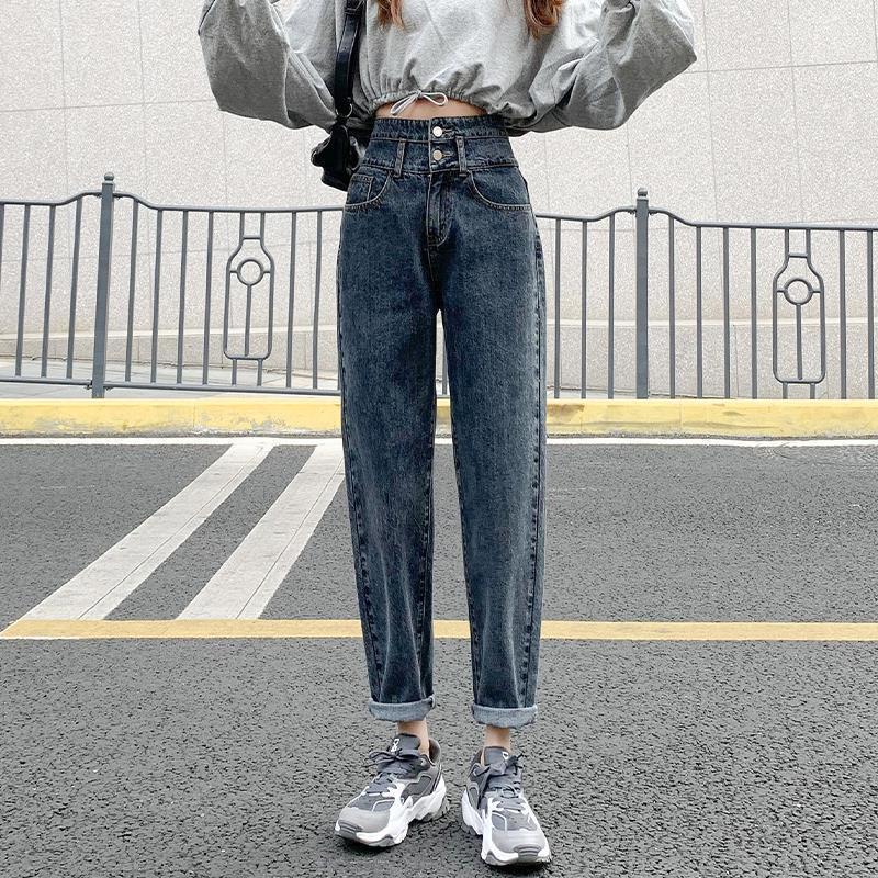 黑色牛仔裤女高腰宽松2021年春秋装新款哈伦直筒显瘦萝卜老爹裤子