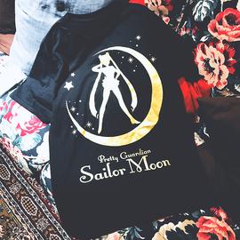 美少女战士短袖T恤女烫金个性卡通纯棉ins宽松港风闺蜜装夏体恤