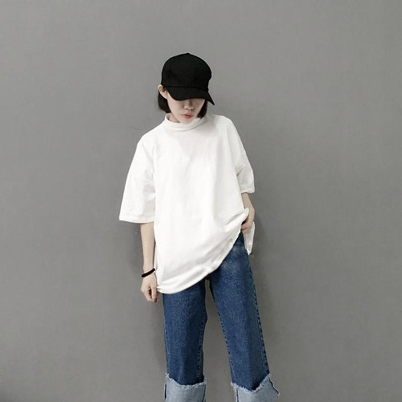 2019夏新款韩国简约半高领下身失踪T恤女宽松中长款大码纯棉t显瘦