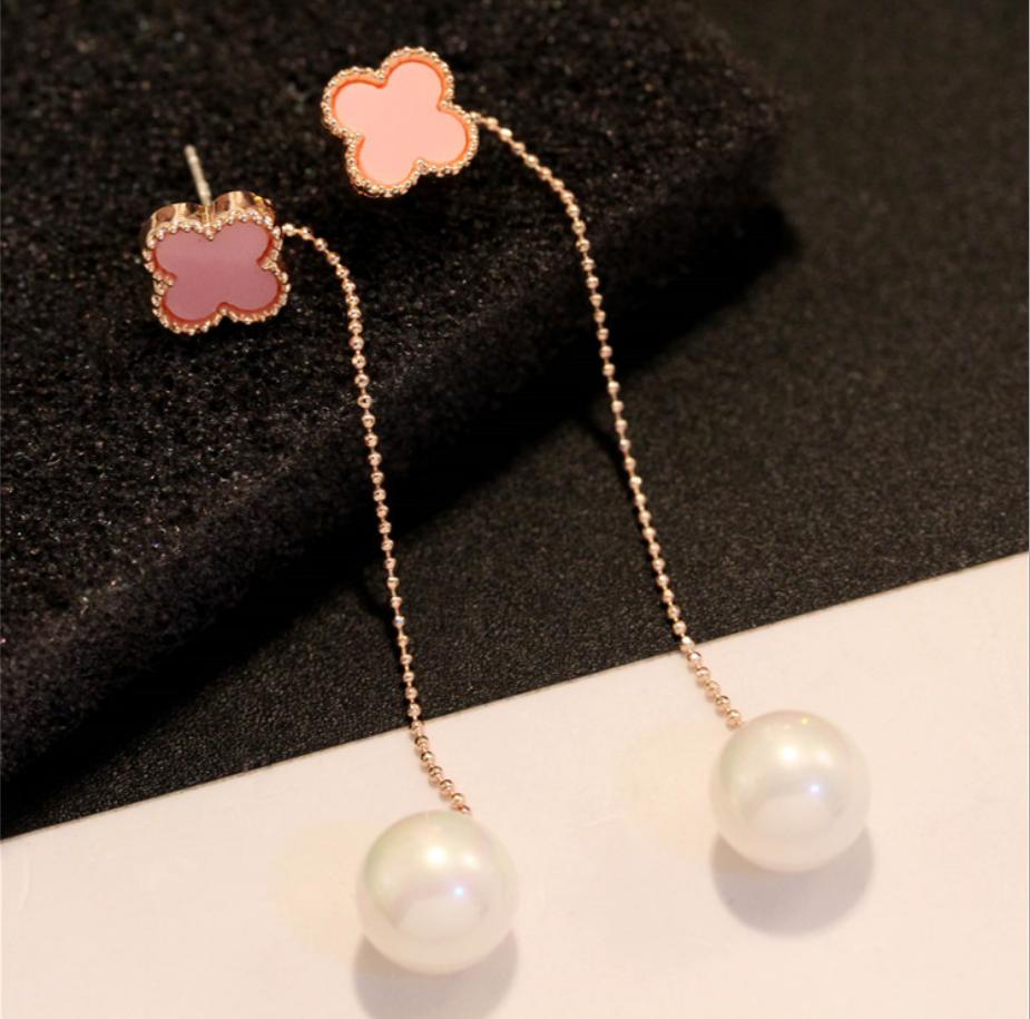 Korean fashion versatile Earrings 925 Tremella needle anti allergy long clover tassel Pearl Earrings womens jewelry