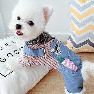 加绒秋冬小狗狗四脚衣宠物泰迪比熊雪纳瑞衣服小型犬冬装加厚棉衣