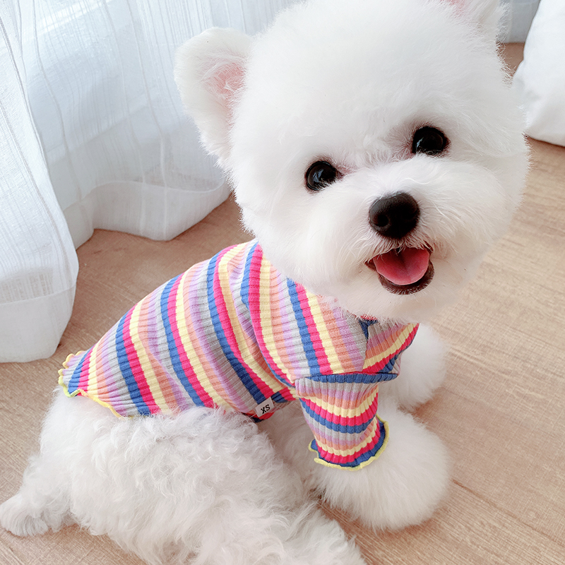 Summer thin Music Rainbow dog cat base small dog Teddy pet Schnauzer bear clothes spring and summer