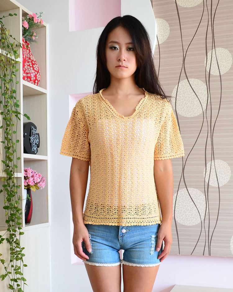 Sale package Korean large V-neck short sleeve Pullover womens sweater large sweater 034# (isolated goods in stock)