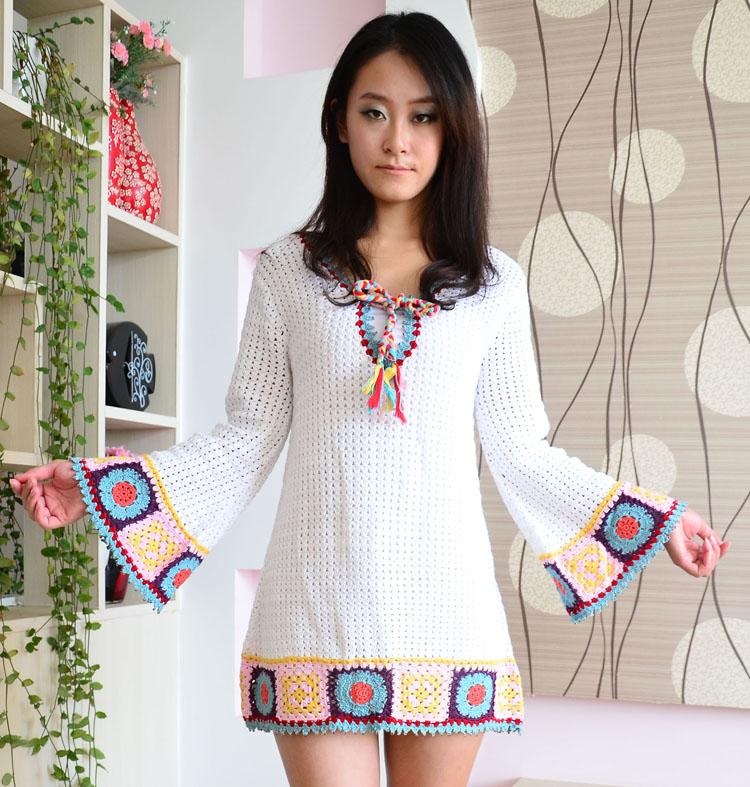 Custom New vivi national classic handmade hook flower slim horn sleeve dress womens skirt 415
