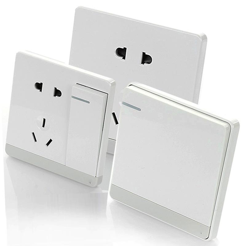 86型家用五孔暗装线墙壁单开一开双控白色墙式家装带开关插座面板