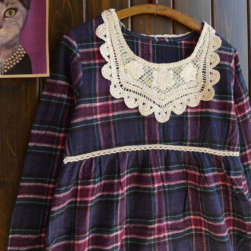 Cat brocade floating treasure foreign trade lovely sweet wind Tibetan Blue Plaid hook collar loose spring and autumn dress