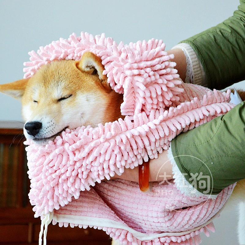 美亚4.5星日本柴犬浴巾SOGGY雪尼尔超强吸水毛巾小柴洗澡浴巾猫狗