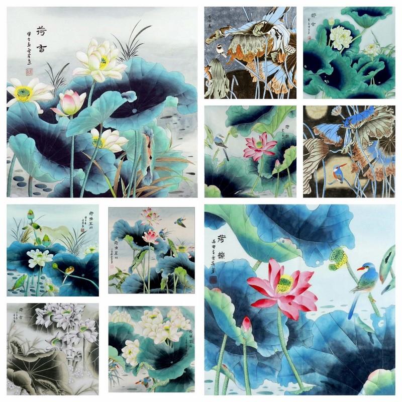 荷花GG08成品花鳥畫手繪字畫熱銷顧雪芳四尺斗方工筆畫客廳裝飾畫