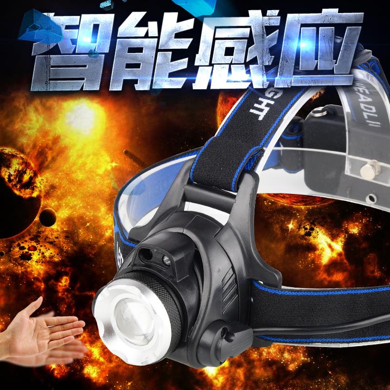 12月02日最新优惠LED强光感应蓝光头灯变焦超亮远射充电头戴式手电筒户外夜钓鱼灯