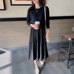 2020韩版秋季新款女装褶皱显瘦裙子女宽松大码时尚仙女气质连衣裙