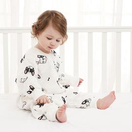 宝宝睡袋婴儿春秋分腿薄款纱布竹纤维儿童六层纱布薄棉四季通用款图片