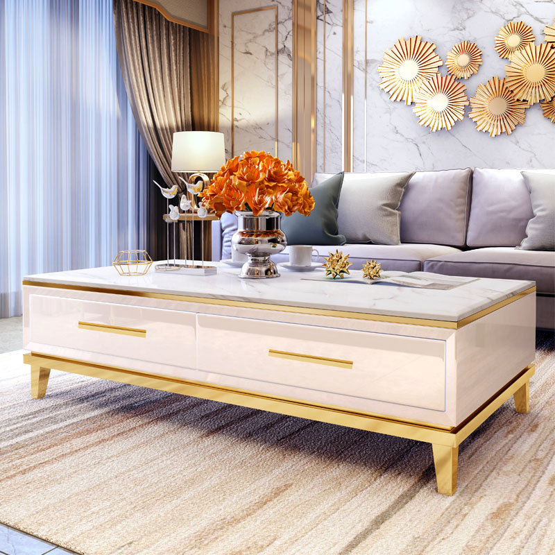 电视柜茶几组合轻奢风客厅现代奢华白色烤漆卧室高款岩板电视柜