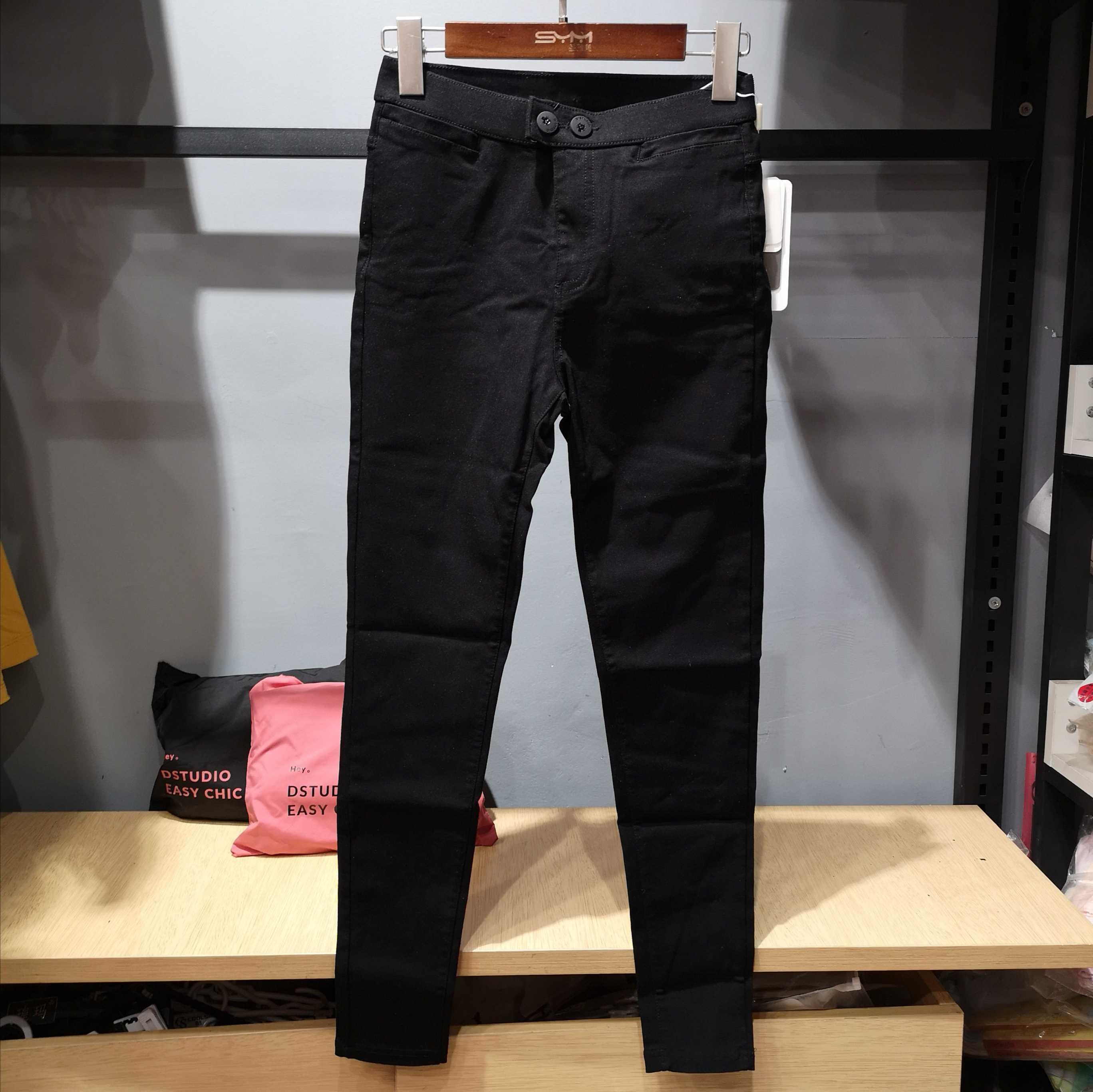 Dstudio小猫魔术裤8.0高腰紧身打底裤不加绒小脚裤正版小黑裤春女