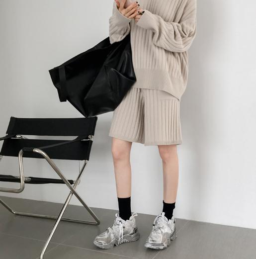 韩国正品女装代购 Partysu 2018秋款Selen韩味十足时髦针织休闲裤