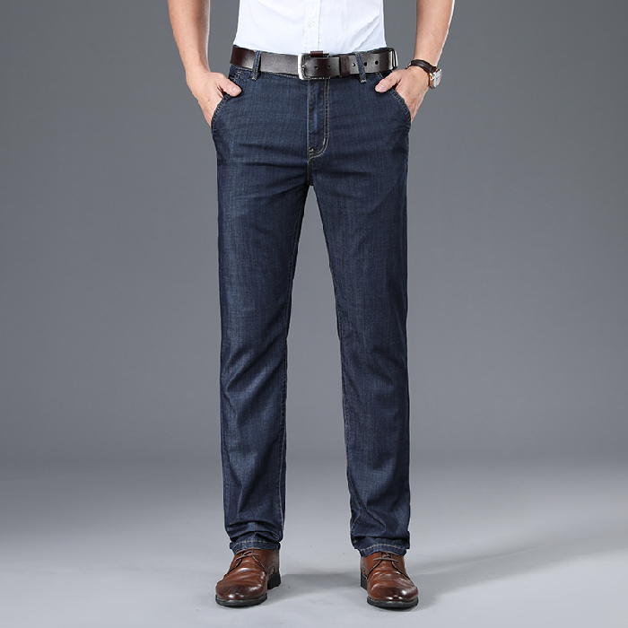 Modal new mens jeans summer ultra thin middle aged high waist loose straight ice silk casual pants 8968