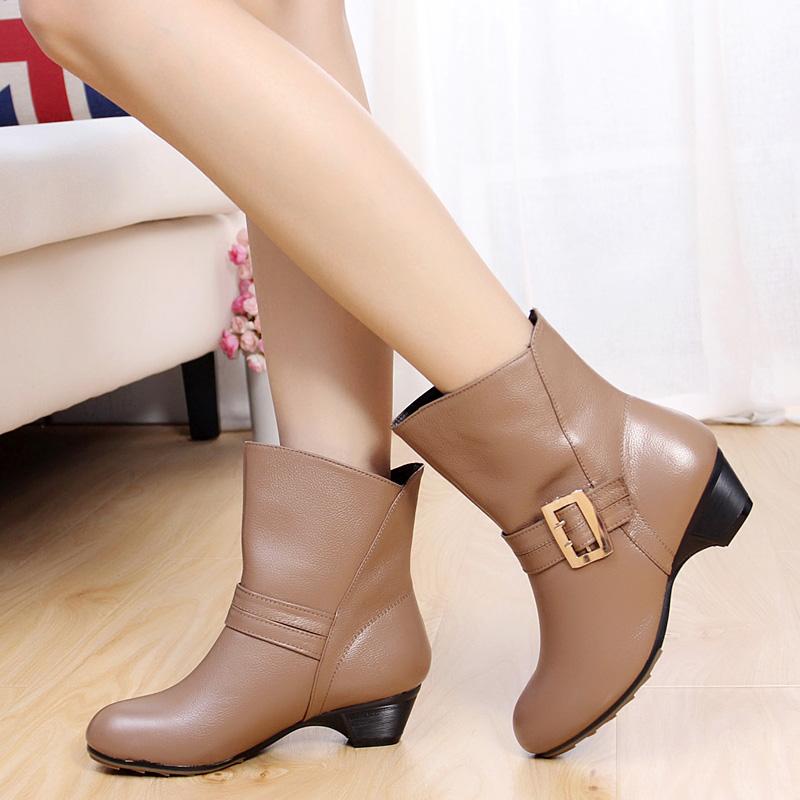 秋季女鞋靴子单靴女春秋短靴真皮粗跟大码中跟女靴4143短筒靴棉靴