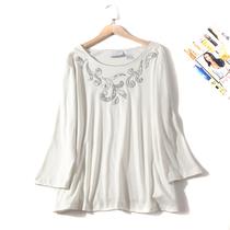 欧美单女装胸围110-136cm 圆领绣花胖MM超大码T恤女I368