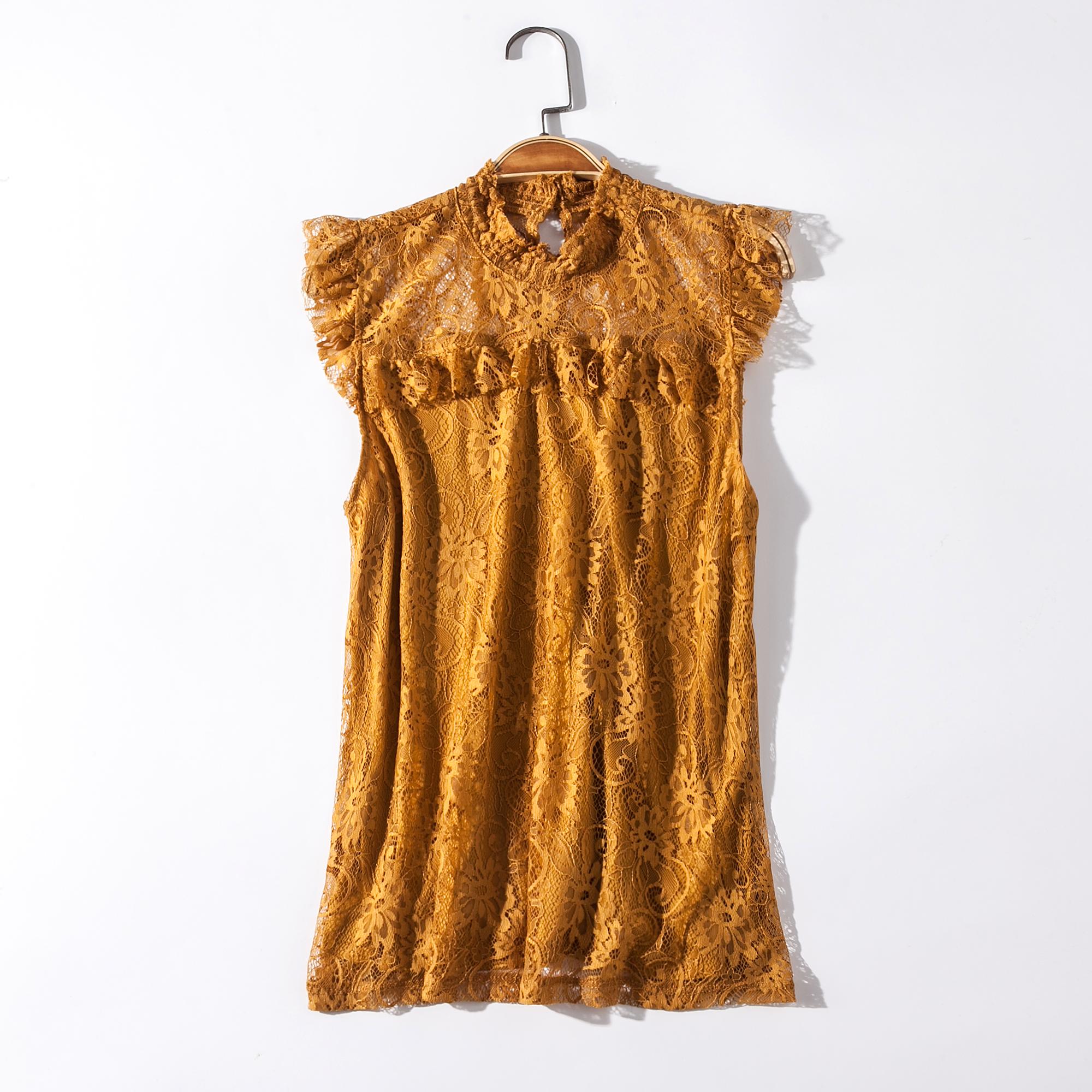 出口欧美单女装胸围86-132cm 立领无袖木耳边蕾丝衫女背心H286