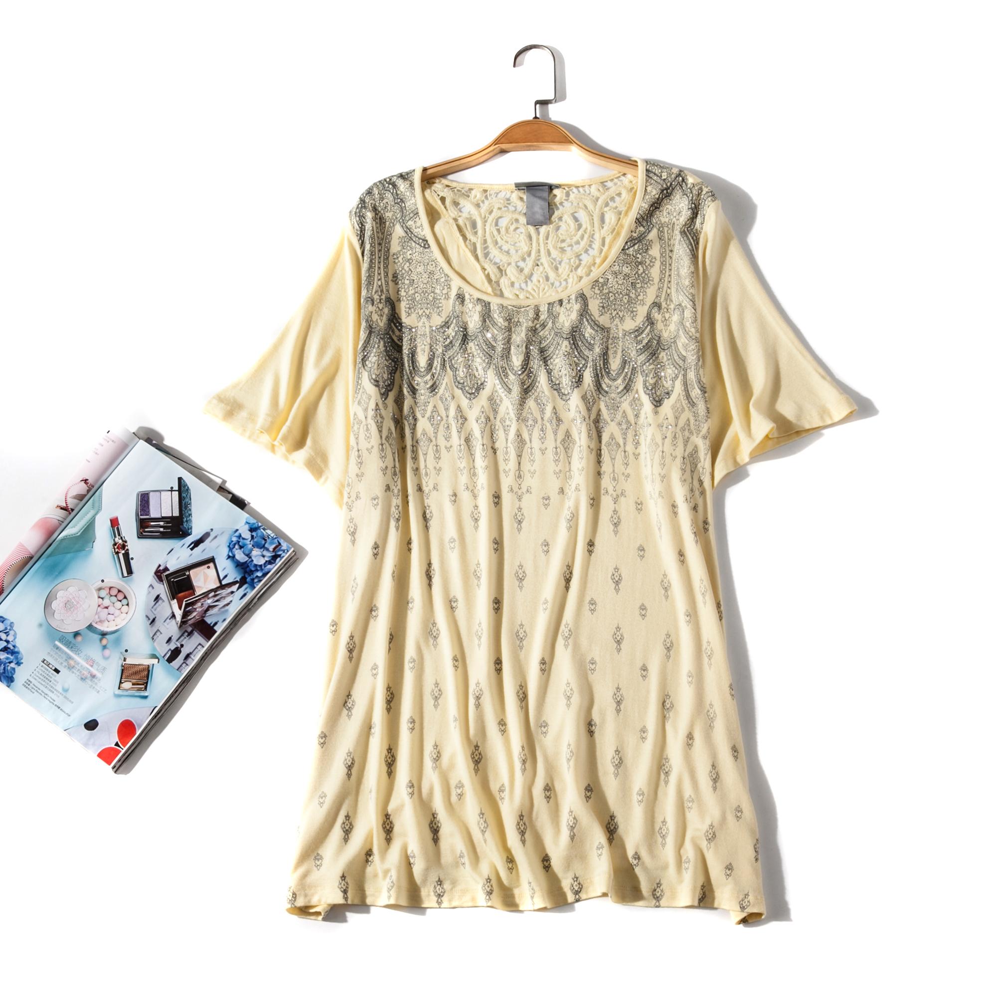 95人棉出口欧美单女装胸围118-168cm 圆领短袖超大码胖MMT恤H35E