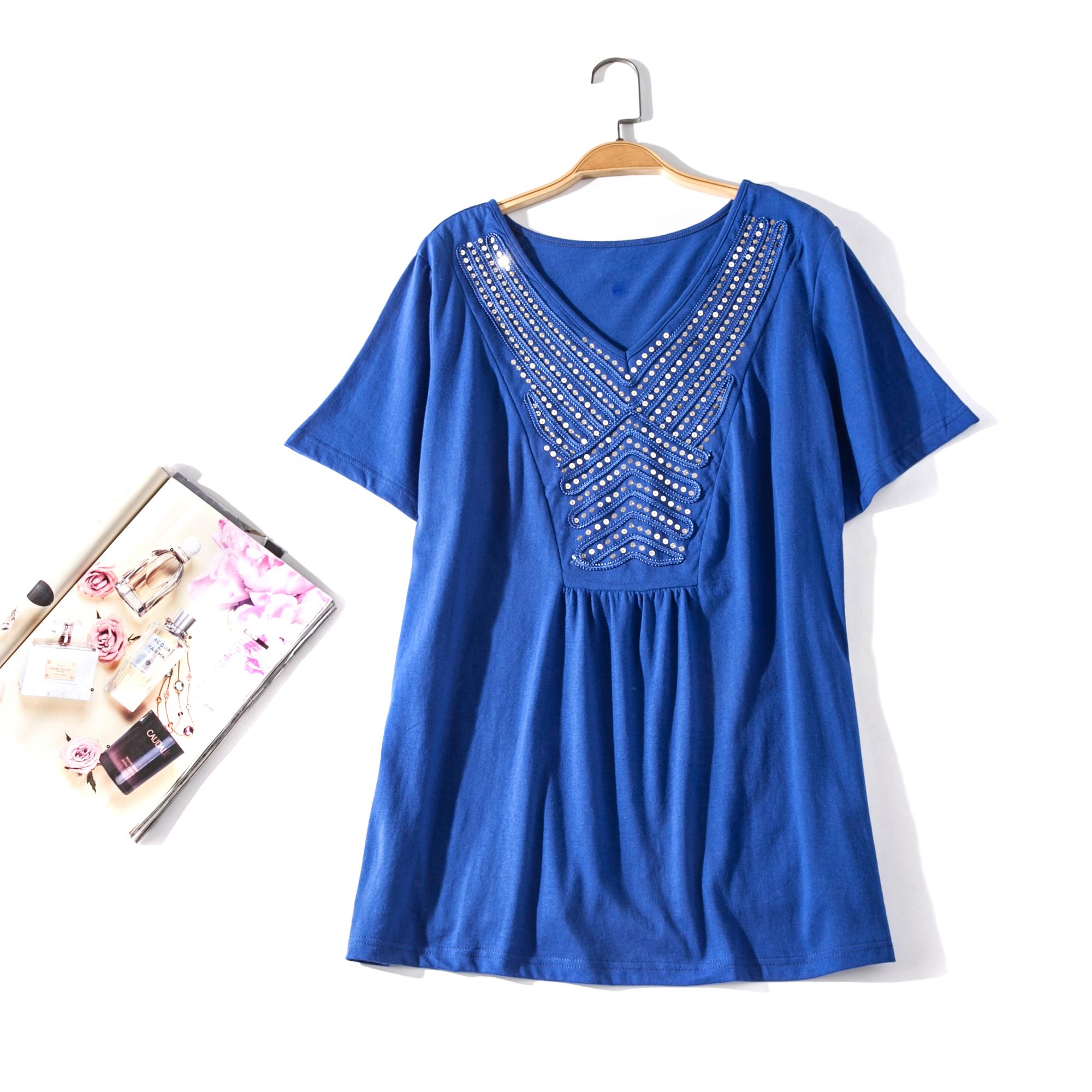 出口欧美单女装胸围114-174cm V领亮片短袖纯色大码T恤女H12H
