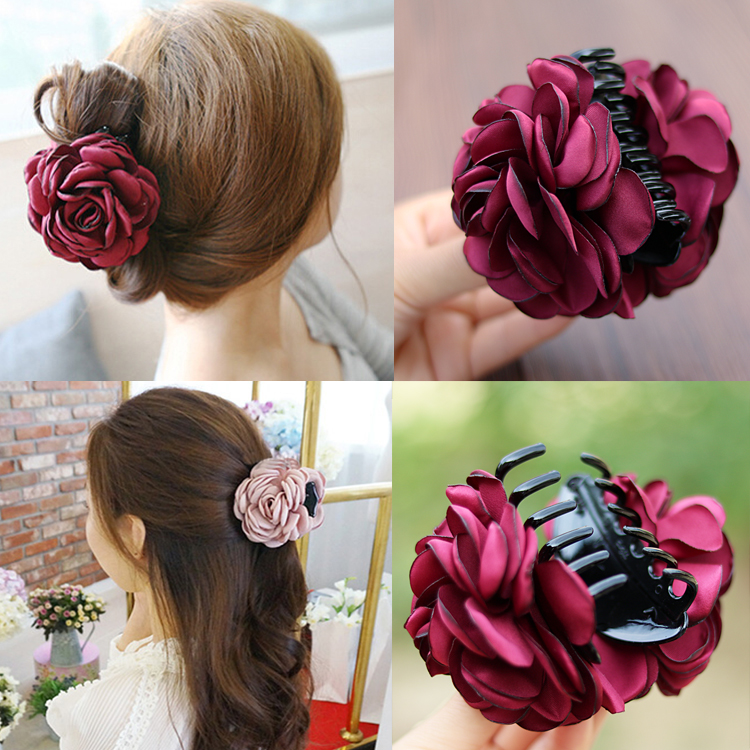 Free mail Korean headgear hair ornament rose clip medium cloth hair clip hair clip headflower horse tail clip