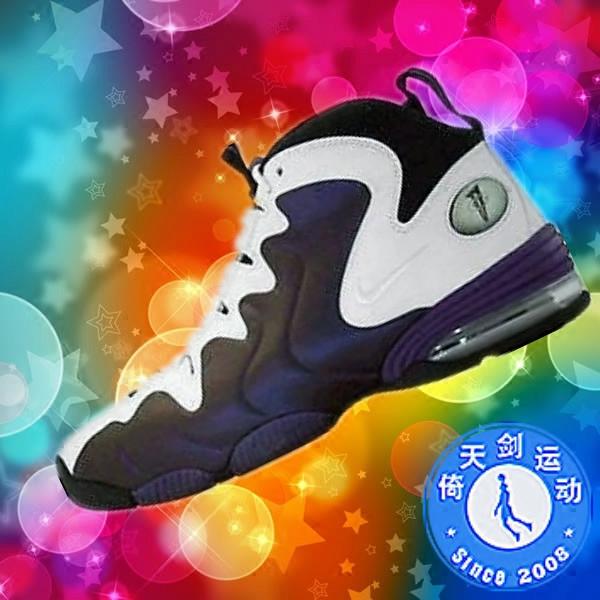 公司� Nike Air Penny 3 GS便士哈�_威白紫344987-102