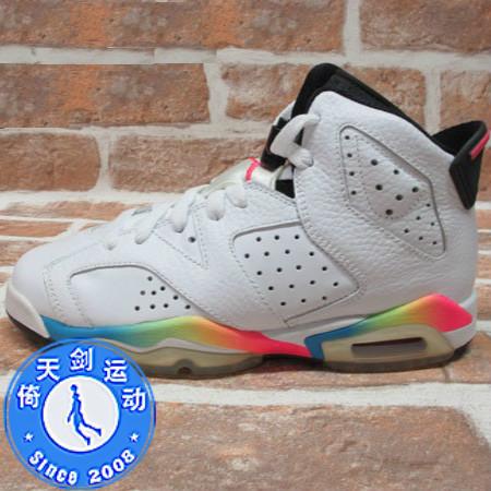 美��公司� Air Jordan 6 AJ6 ��6 女鞋 白彩虹 384665-103