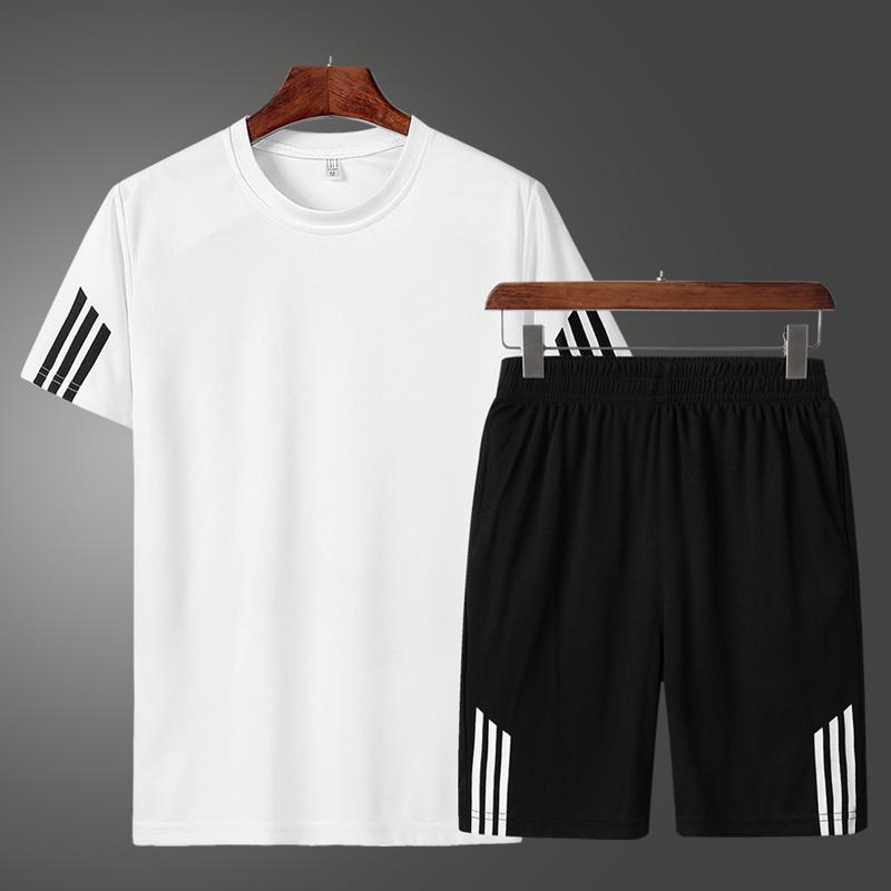 花花公子夏季速干休闲运动套装男士韩版时尚圆领短袖短裤两件套图片