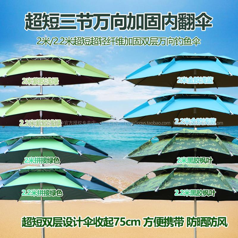 满145.00元可用29元优惠券正品新款2.2米双层三折加固钓鱼伞