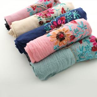 那木家复古几何图案拼接围巾 异域风情的柔软丝巾披肩