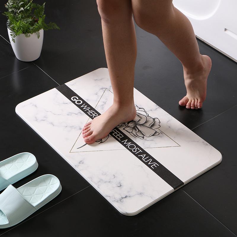 天然硅藻泥地垫卫生间浴室门垫硅藻土脚垫北欧家用吸水速干防滑垫