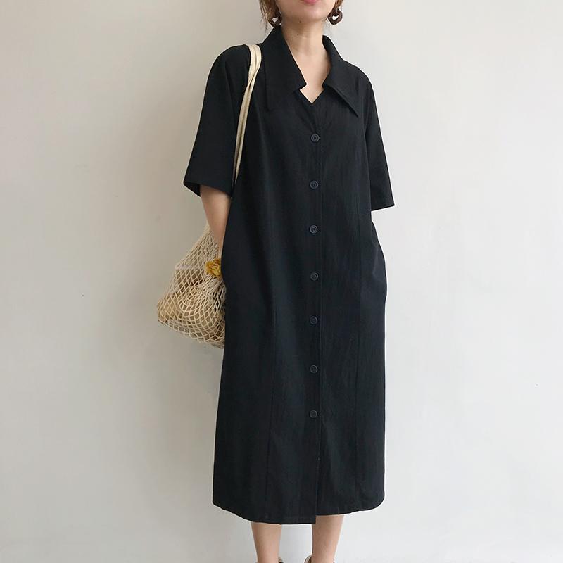 棉麻衬衫裙女2020年新款女装春季设计感小众中长款过膝宽松连衣裙 - 封面