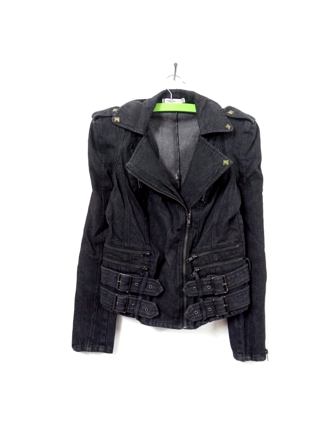 [2-piece package] exported to Europe and America rock wash hookah grey rivet denim shoulder pad Jacket Womens style