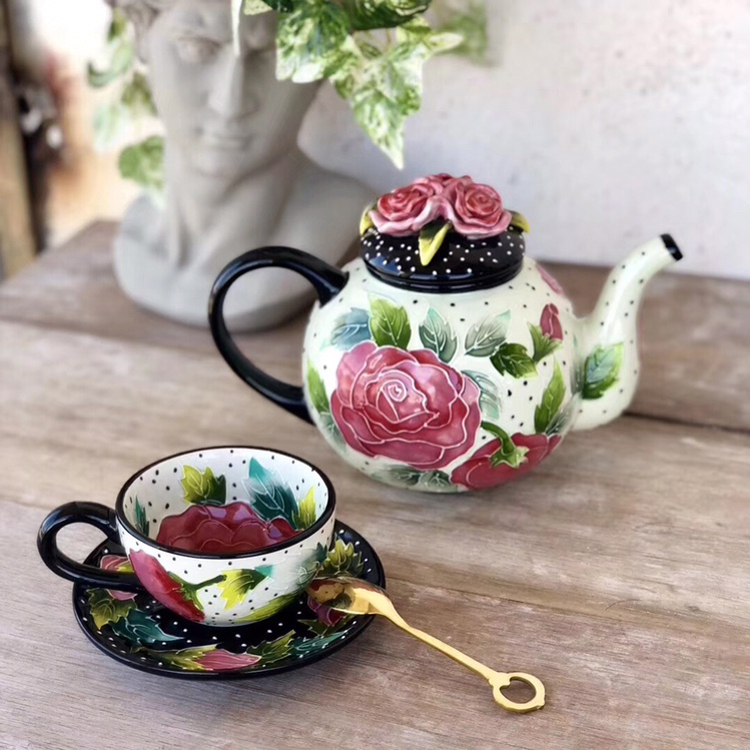 包邮美国品牌Bluesky手绘陶瓷玫瑰茶壶咖啡壶茶杯茶具田园咖啡具